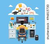 online learning. e learning ... | Shutterstock .eps vector #496815730
