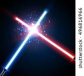 two crossed light swords fight. ...   Shutterstock .eps vector #496816966