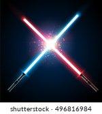 two crossed light swords fight. ... | Shutterstock .eps vector #496816984