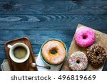colorful donuts and coffee... | Shutterstock . vector #496819669