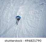 man skiing down the slope. shot ... | Shutterstock . vector #496821790