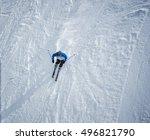 Man Skiing Down The Slope. Shot ...