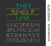 thin single line font  alphabet ...   Shutterstock .eps vector #496821874