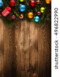 merry christmas frame with real ... | Shutterstock . vector #496822990