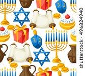 jewish hanukkah celebration... | Shutterstock .eps vector #496824940