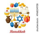 jewish hanukkah celebration... | Shutterstock .eps vector #496824958