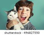 preteen handsome boy with tom... | Shutterstock . vector #496827550