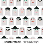 seamless halloween pattern for... | Shutterstock .eps vector #496830454