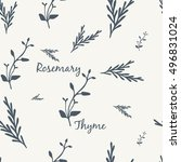 rosemary and thyme simple... | Shutterstock .eps vector #496831024
