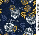seamless pattern with skulls ... | Shutterstock . vector #496831540