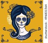 catrina. girl with marigolds... | Shutterstock . vector #496831564