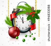 new year clock on white with... | Shutterstock .eps vector #496833088