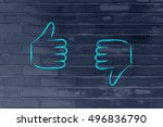 thumbs up and thumbs down ... | Shutterstock . vector #496836790