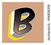 b letter comic alphabet retro... | Shutterstock .eps vector #496838200