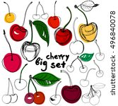 big set of hand drawn cherry.... | Shutterstock .eps vector #496840078