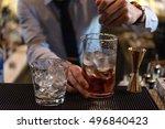 bartender in formal dress is... | Shutterstock . vector #496840423