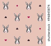 pattern with fairy rabbit.... | Shutterstock .eps vector #496845874