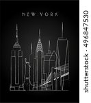 new york city skyline with... | Shutterstock .eps vector #496847530