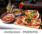 pasta restaurant in rome city... | Shutterstock . vector #496856956