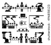 conveyor production... | Shutterstock .eps vector #496858123
