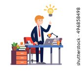 business man entrepreneur in a... | Shutterstock .eps vector #496858498