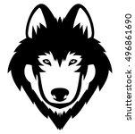 wolf head logo mascot emblem | Shutterstock .eps vector #496861690