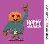 happy halloween vector creative ... | Shutterstock .eps vector #496862344