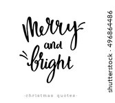 merry and bright. hand... | Shutterstock .eps vector #496864486