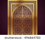 ramadan background with golden... | Shutterstock .eps vector #496864783