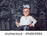the little smart girl in... | Shutterstock . vector #496865884