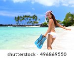 happy beach vacation girl... | Shutterstock . vector #496869550