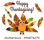 cute vector turkey with... | Shutterstock .eps vector #496876270