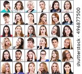 portrait collage of many... | Shutterstock . vector #496877500