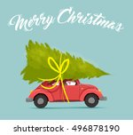 merry christmas greeting card...   Shutterstock .eps vector #496878190