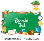 border design with boy and many ... | Shutterstock .eps vector #496878628