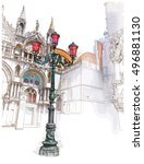 venice. italy. lantern on st.... | Shutterstock .eps vector #496881130