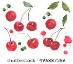 red cherry illustration in... | Shutterstock . vector #496887286