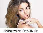 blond girl with long   shiny... | Shutterstock . vector #496887844