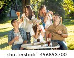 cheerful friends on picnic in... | Shutterstock . vector #496893700