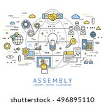 assembly line art with isolated ... | Shutterstock .eps vector #496895110