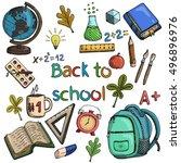 set of school supplies | Shutterstock .eps vector #496896976