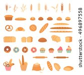 bakery and pastry products...   Shutterstock .eps vector #496897558