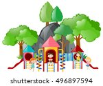 kids playing at the playground... | Shutterstock .eps vector #496897594