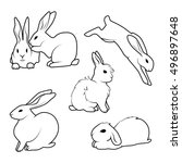 collection of  cute rabbit   in ... | Shutterstock .eps vector #496897648