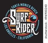 surf rider typography  t shirt... | Shutterstock .eps vector #496900240