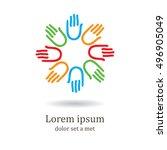 simple logo icon design. hands  ... | Shutterstock .eps vector #496905049