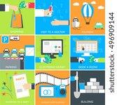 set of flat communication... | Shutterstock .eps vector #496909144