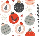christmas pattern with balls ... | Shutterstock .eps vector #496909888