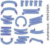 big set of blue ribbon. vector... | Shutterstock .eps vector #496910404