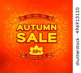 autumn sale  fall discount and... | Shutterstock .eps vector #496913110